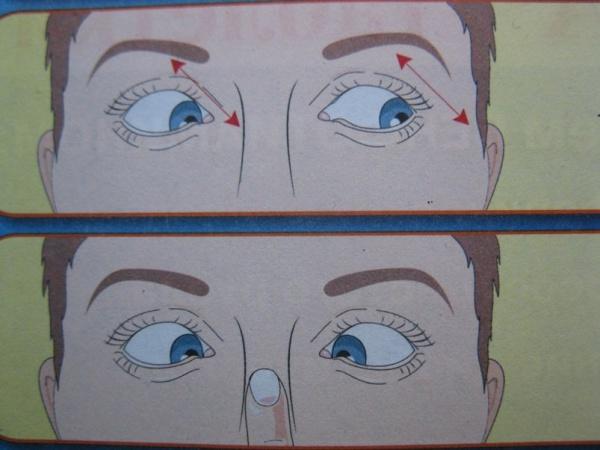 Гимнастика для глаз палец к носу